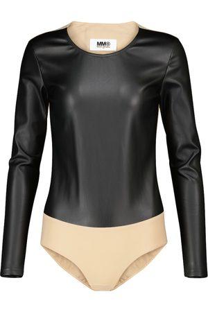 MM6 MAISON MARGIELA Kvinder Bodies - Paneled faux leather bodysuit