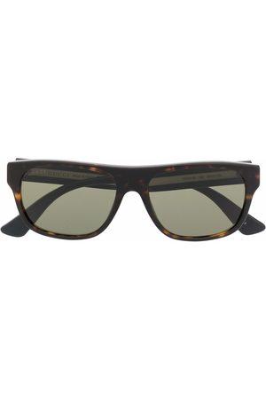 Gucci Firkantede metalliske solbriller med skildpaddeeffekt