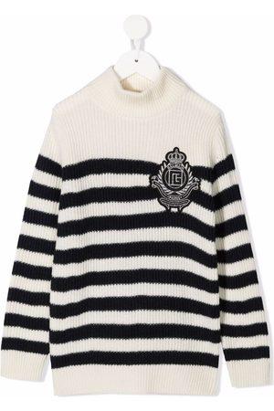 Balmain Nautisk-stribet trøje med logo