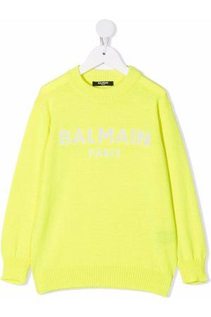 Balmain Drenge Strik - Intarsiastrikket trøje med logo