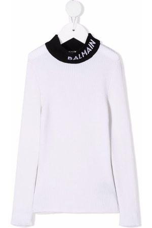 Balmain Piger Strik - Intarsiastrikket trøje med logo-krave
