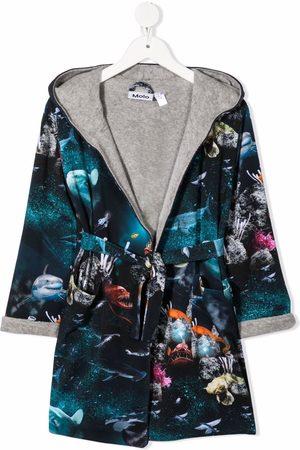 Molo Drenge Badekåber - Deep Sea-print organic cotton bathrobe