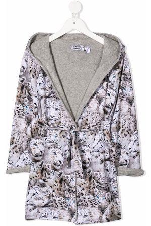 Molo Drenge Badekåber - Winter Leopard-print organic cotton bathrobe