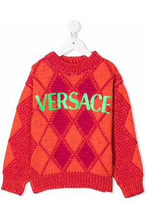 VERSACE Argyle knit logo-print jumper