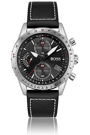 HUGO BOSS Mænd Ure - Leather-strap chronograph watch with luminescent hands