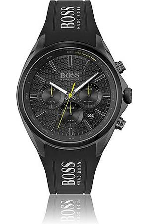 HUGO BOSS Mænd Ure - Black-plated chronograph watch with silicone strap