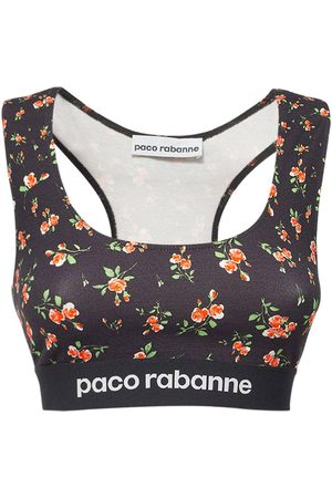 Paco rabanne Printed Logo Stretch Jersey Top