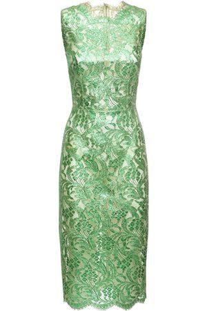 Dolce & Gabbana Laminated Lace Midi Dress