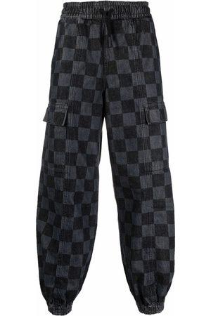 MARCELO BURLON Mænd Joggingbukser - Checkerboard-print denim track pants