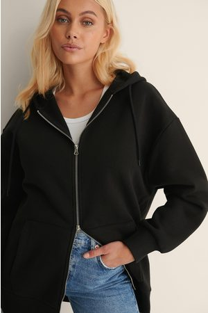 NA-KD Kvinder Sweatshirts - Økologisk Hættetrøje I Overstørrelse Med Lynlås