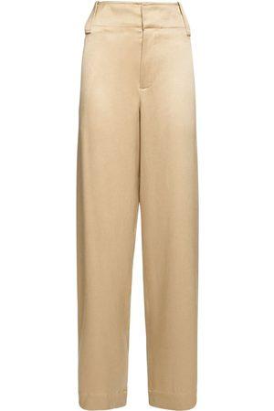 Bottega Veneta Fluid Silk Twill Straight Leg Pants
