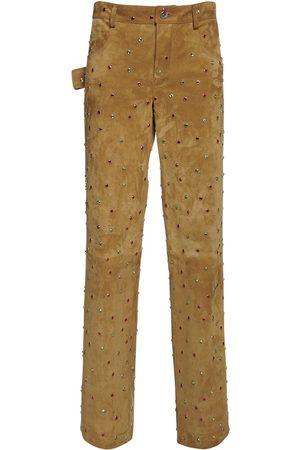 Bottega Veneta Multi Color Embellished Ed Suede Pants