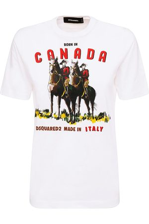 Dsquared2 Kvinder Kortærmede - Canada Renny Print Cotton Jersey T-shirt