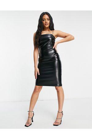 Femme Luxe Bodycon-kjole i PU med tynde stropper