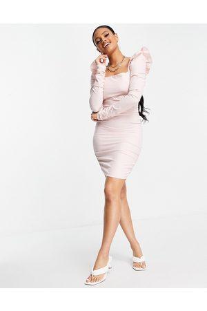 Love & Other Things Langærmet bodycon-kjole i lyserød mesh