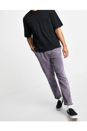 ASOS Smalle bukser i fløjl med elastisk talje i syrevask