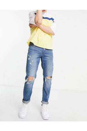 ASOS Slim-jeans med store flænger i mellemvask