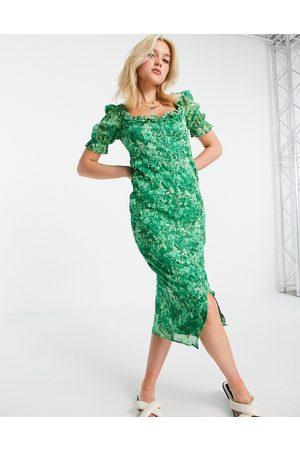 HOPE & IVY Made with Liberty Fabric - Tea-midikjole i grønt blomstermønster