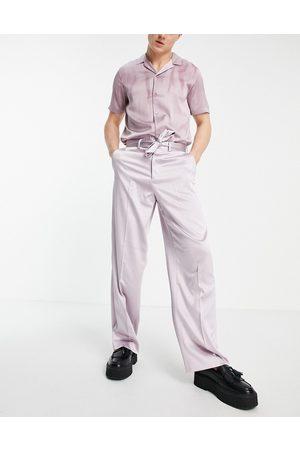 ASOS Elegante bukser med ekstremt vide ben i rosa satin-Lyserød