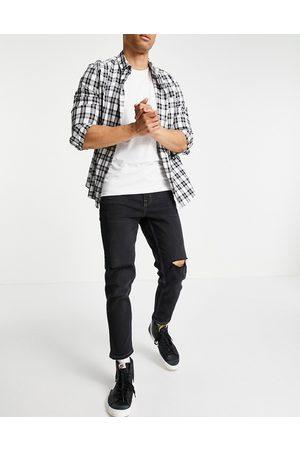 New Look Smalle, cropped jeans med flænger på knæene i