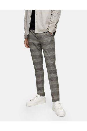 Topman Skinny-bukser med stretch i neutrale tern