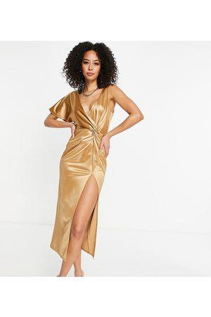 ASOS ASOS DESIGN Tall - Guldfarvet oneshoulder-midikjole med snoning og høj slids