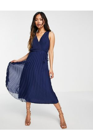ASOS Slå-om midikjole med snøretalje og plisseret skørt fra -Marineblå
