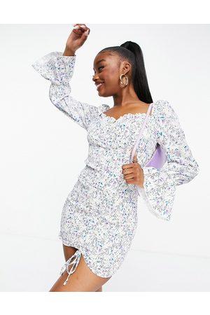 Parisian Kvinder Bodycon kjoler - Bodycon-kjole med blomstermønster og bindebånd foran-Multifarvet