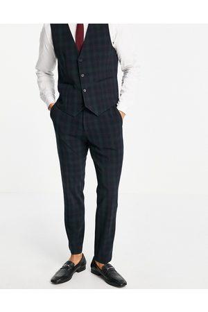 ASOS Slim Fit-bukser i sort skotskternet-Marineblå