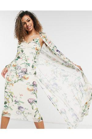 HOPE & IVY Sæt med 90'er slip-kjole og duster i sart salviegrøn med blomstermønster