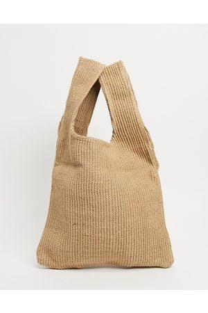 ASOS Vævet tote-taske i naturfarver-Neutral