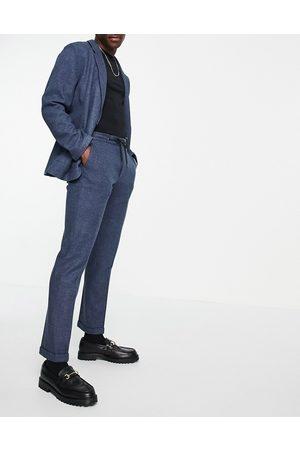 ASOS Bløde skræddersyede jersey-habitbukser med løbesnor i taljen i Slim Fit og marineblåt twill