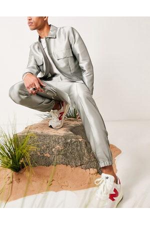ASOS Pastelgrønne og elegante slim-bukser med manchetter og højglans finish - Del af sæt