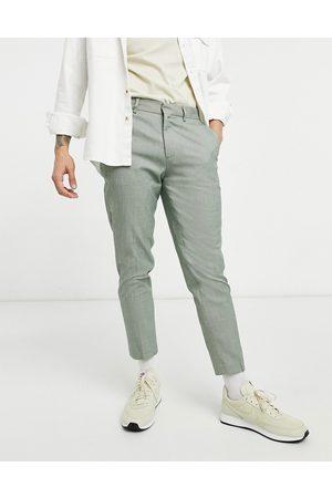 ASOS Elegante Skinny-bukser med mikro-tern i kaki-Grøn