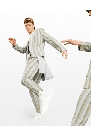 ASOS Afslappede skinny-habitbukser med råhvide seersucker-striber og elastiske kanter-Neutral