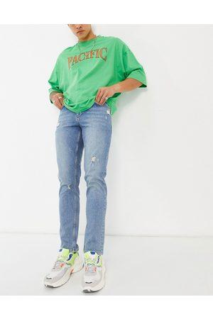 ASOS Slim-jeans med stretch og flænger i mellemvask