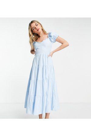 Stradivarius Malkepige-kjole i poplin med pufærmer