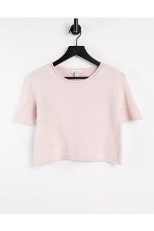 Topshop Strikket lyserød t-shirt i firkantet pasform
