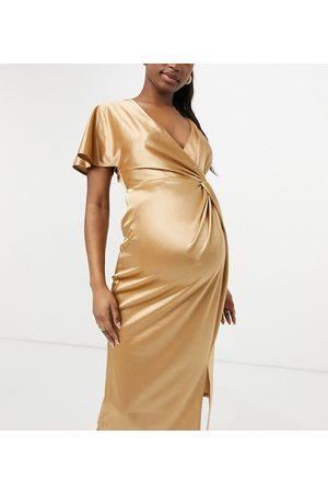 ASOS ASOS DESIGN Maternity - Etærmet midikjole med snoning og høj slids i