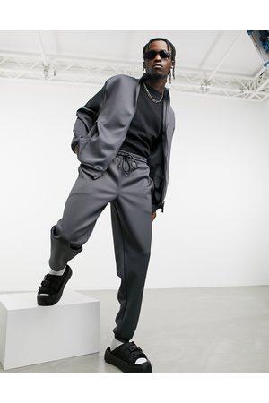 ASOS Oversized træningssæt med jakke og joggingbukser i koksgrå scubastof