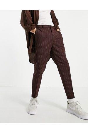 ASOS Elegante, tapered bukser i bordeaux med striber