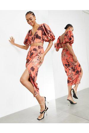 ASOS Nederdel med draperet front i kanelorkide-print