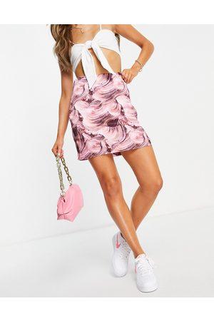 NA-KD Kvinder Mønstrede nederdele - Mininederdel med print i satin - Del af sæt-Multifarvet