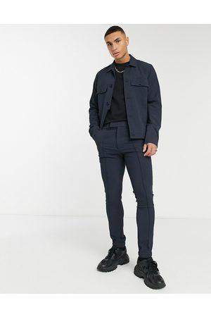 ASOS Elegante skinny-joggingbukser i marineblå vaffeltekstur - Del af sæt-Grå