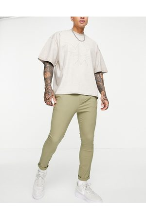 ASOS Lyse kakifarvede super skinny-chinos med stumpede ben-Grøn