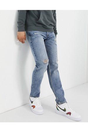 JACK & JONES Intelligence - Mike - Lyseblå jeans i lige pasform med flænger