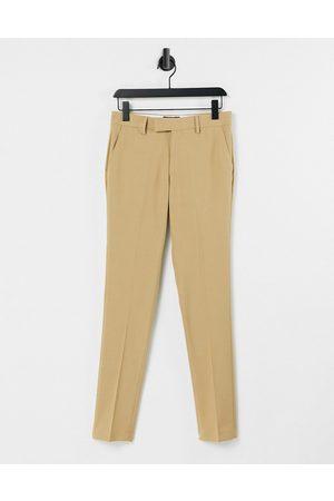 ASOS Wedding - Kamelfarvede super skinny-habitbukser med mikrotekstur-Grå