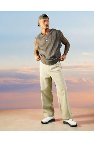 ASOS Teksturerede bukser i beige ribstrik i bred pasform-Neutral