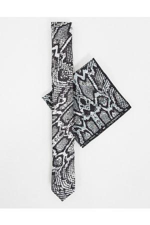 Bolongaro Sæt med smalt slips og lommeklud i slangeskind
