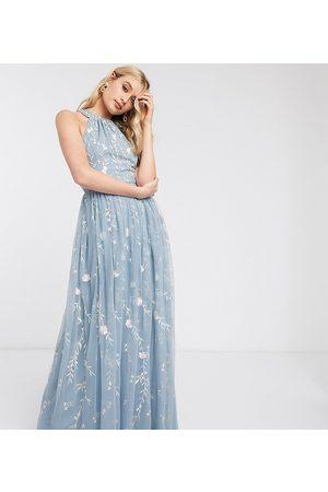 ASOS ASOS DESIGN Tall - Blomstret maxikjole i mesh med pailletter og smukke broderinger samt halterneck-Multifarvet